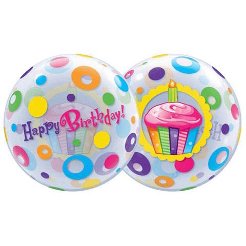 Birthday Cupcake and Dots Bubble