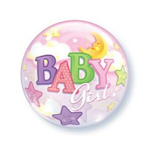 Baby Girl Moon and Stars Bubble