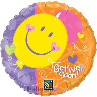 Get Well Soon! Smile Face - Uninflated