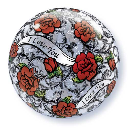 I Love You Red Roses Filigree Bubble