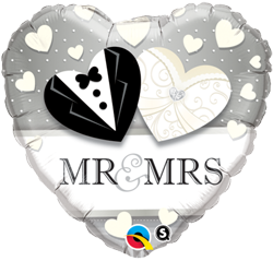 Mr & Mrs Heart - Silver and White