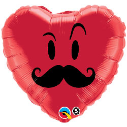 Mr Mustache Smiley Heart - Uninflated