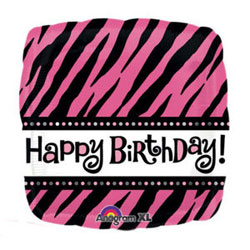 Happy Birthday Pink Zebra Print - Uninflated