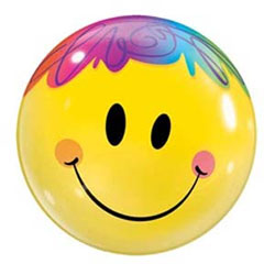 Rainbow Hair Smiley Bubble - Uninflated