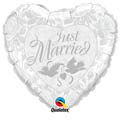 Just Married Silver Heart - Uninflated