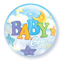 Baby Boy Moon and Stars Bubble - Uninflated