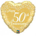 Happy 50th Anniversary Heart - Uninflated