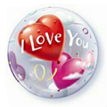 I Love You Heart Balloons Bubble - Uninflated