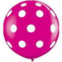 36 inch Latex - Wildberry w Polka Dot, Uninflated