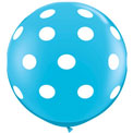36 inch Latex - Blue w Polka Dot, Uninflated