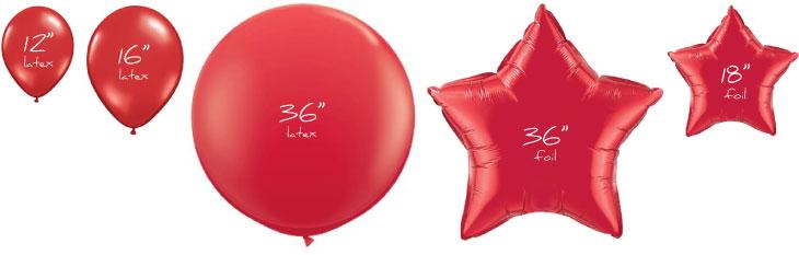 Balloon printing size chart